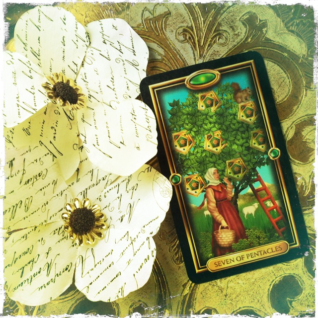 7 of Pentacles from the Gilded Tarot - Beautiful Receiving Jennifer Currie