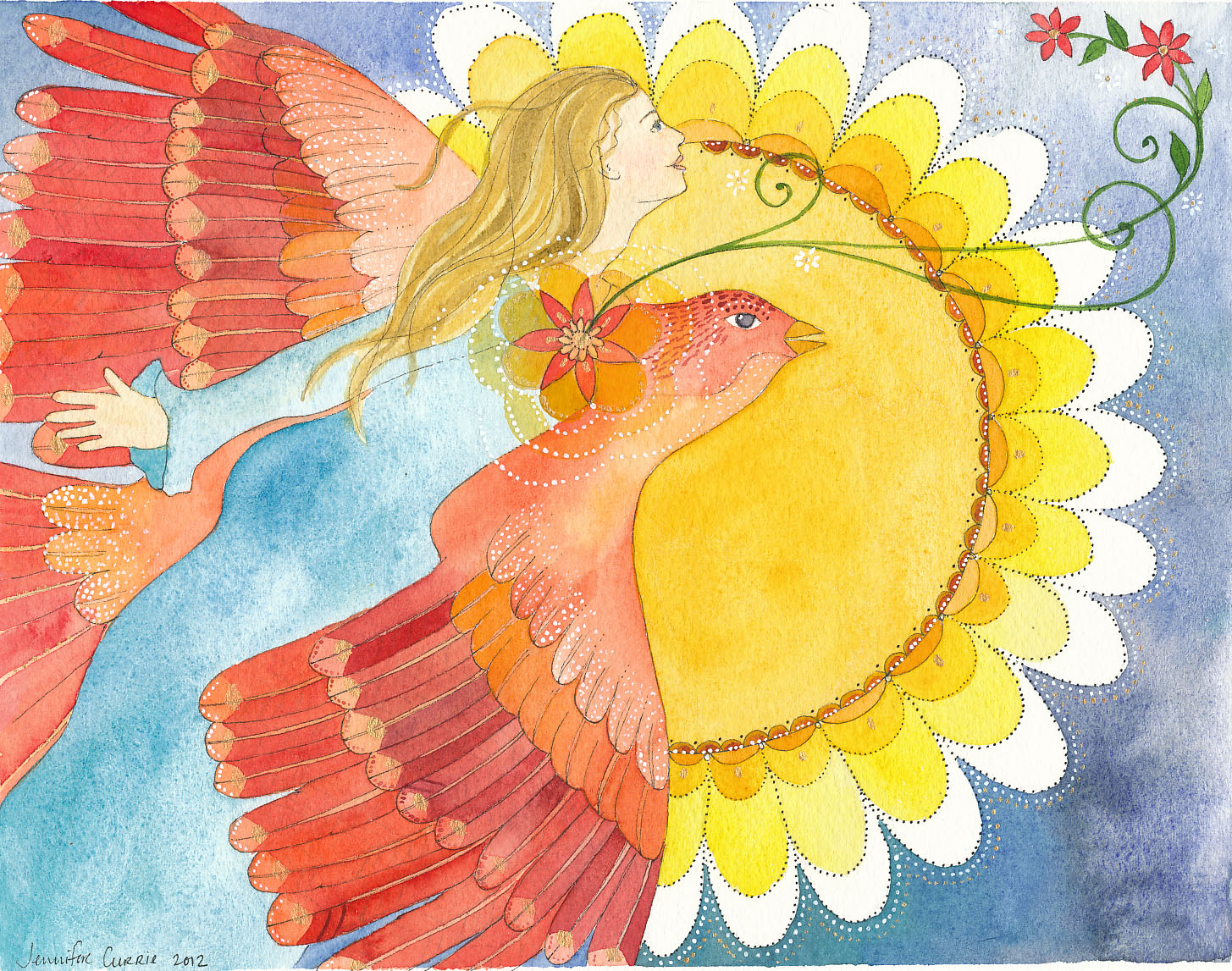 Expansion - Letting go of control Jennifer Currie - woman flying with a red bird towards a sun that looks like a flower