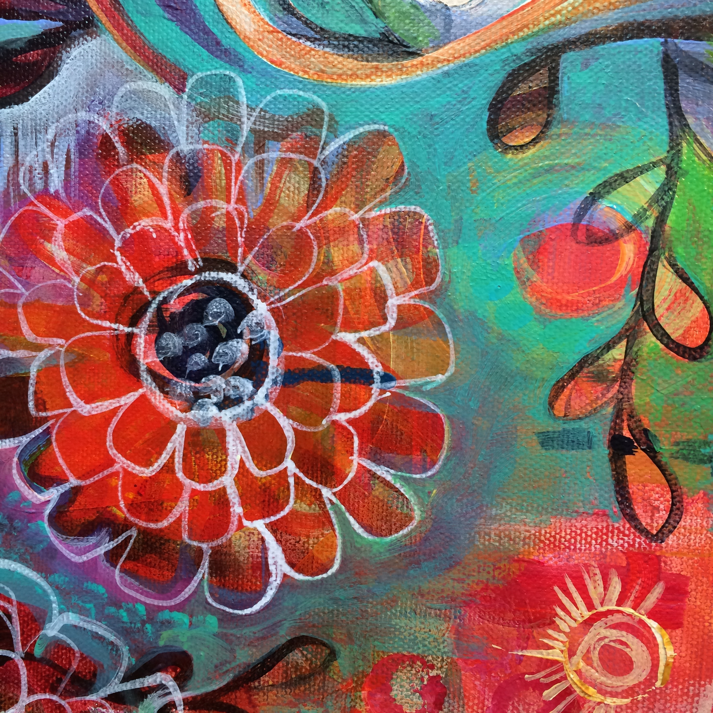 Manifestation 101: Your Dreams are Growing - Jennifer Currie - red multi petaled flower against a blue green abstract background