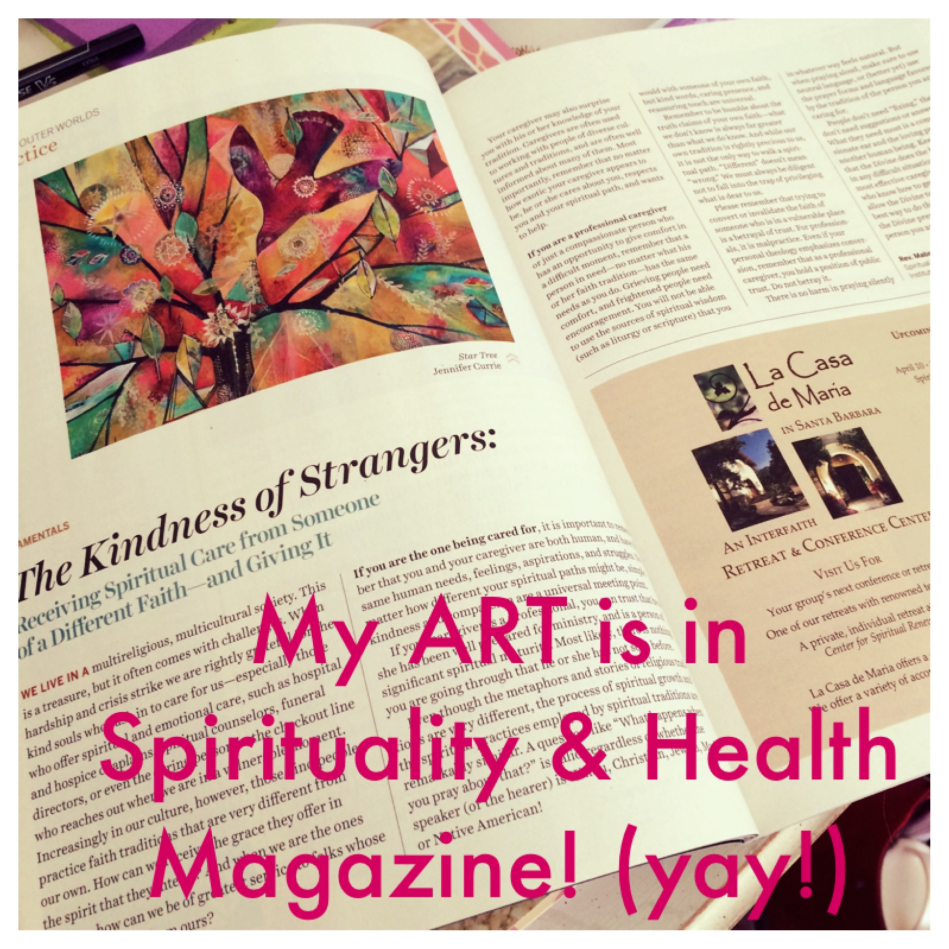photo of Jennifer Currie's artwork in Spirituality & Health Magazine