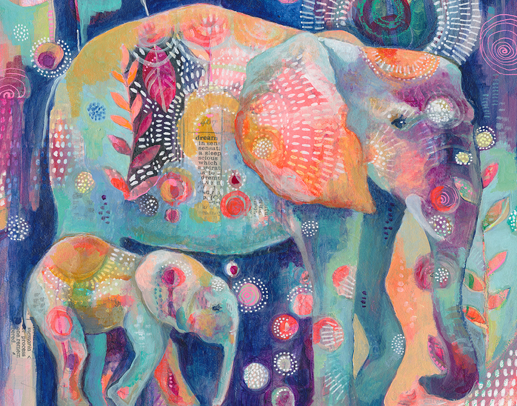 Dream Elephants Print by Jennifer Currie