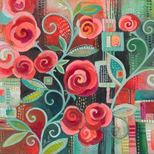 """Flourish""Rose Print Jennifer Currie"