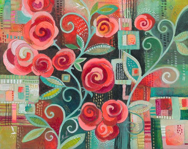 """Flourish""Rose Print Jennifer Currie"