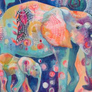 Dream Elephants Print by Jennifer Currie